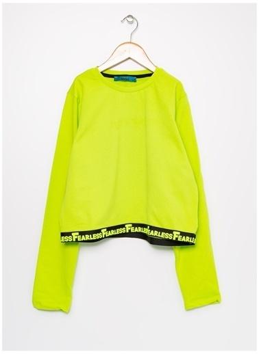 Funky Rocks Funky Rocks Bisiklet Yaka Uzun Kol Fearless Şerit Yazılı Neon Çocuk Sweatshirt Yeşil